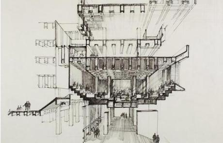 From the competition, Kallmann's drawing showing a cross section of the building.